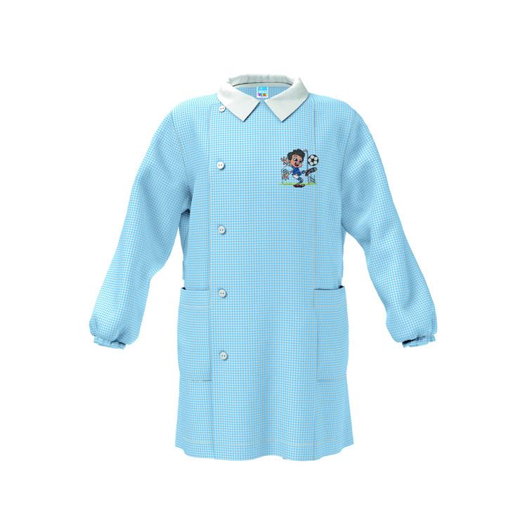 Immagine di Grembiule asilo Bianco - Quadri Azzurro bambino Siggi Art. 3582