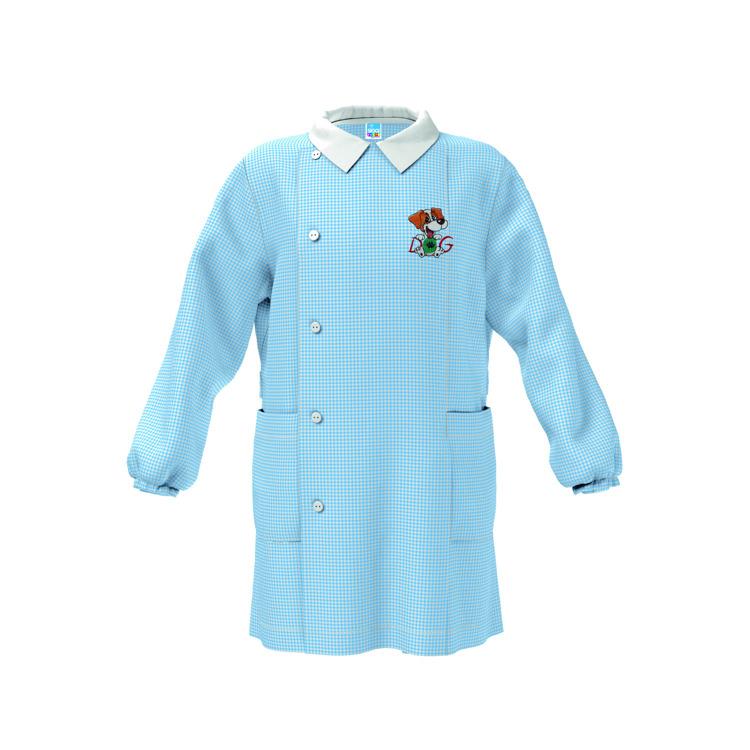 Immagine di Grembiule asilo Bianco - Quadri Azzurro bambino Siggi Art. 3581